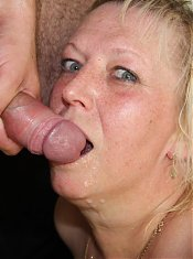 Blonde mature babe gets fun cock from her son in law and tastes his sticky hot cum