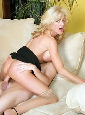 Lexi Carrington is a top heavy mature MILF pumping on a cock and covering her mouth with cum