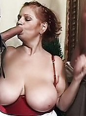 Slutty gilf Jakie goes for a raunchy threesome and does her best to pleasure two cocks