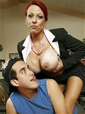 Redhead MILF Whitney Wonders mashing her big breast while a younger guy plows her cunt