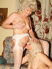 Francesca and Erlene are big boobed grandmas having a nice lesbian dildo sharing live